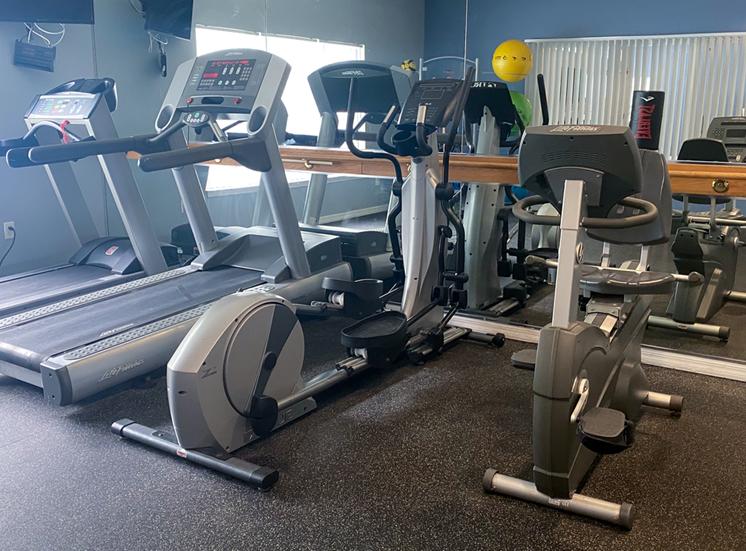 Fitness center cardio equipment