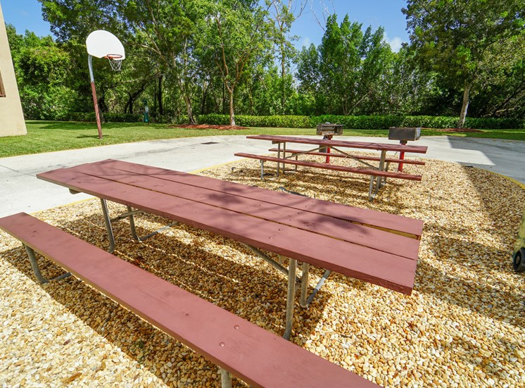 Picnic Tables on Mulch with Basketball Hoop in the Background