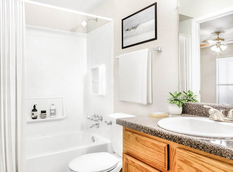 Bathroom with mirror above sink and towel rack.