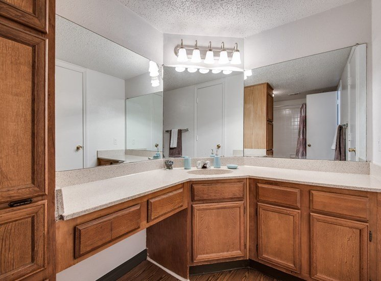 bathroom with a corner vanity and the mirror is cornered with a wood cabinets