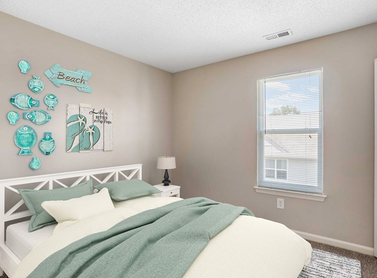 Bedroom with virtual bed with night stands and lamps