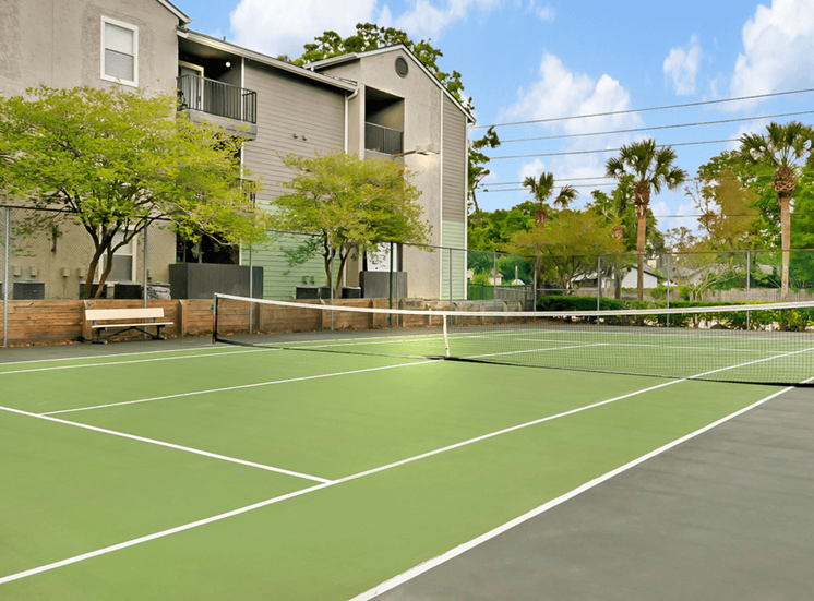 Outdoor tennis court surrounded by native landscaping