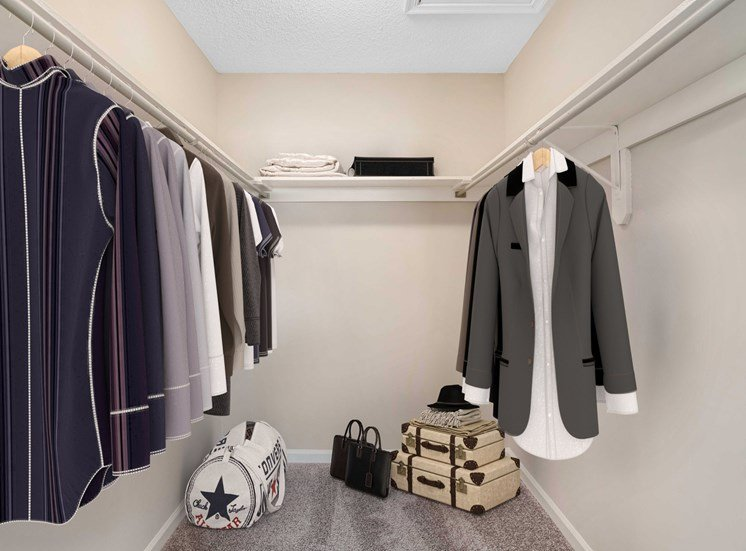 Closet with shelves and virtual clothes