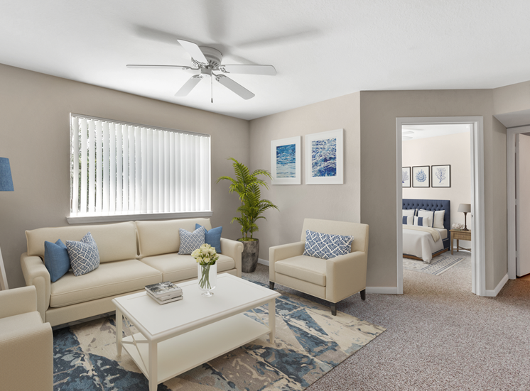 Furnished living room with couch, chair, coffee table, floor lamp, multi speed ceiling fan, floor rug, and large window for natural lighting