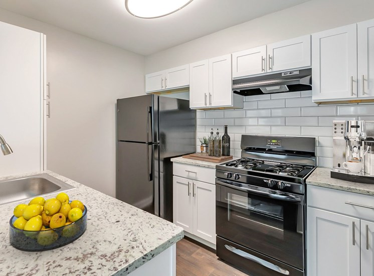 Kitchen with black appliances and white cabinetry