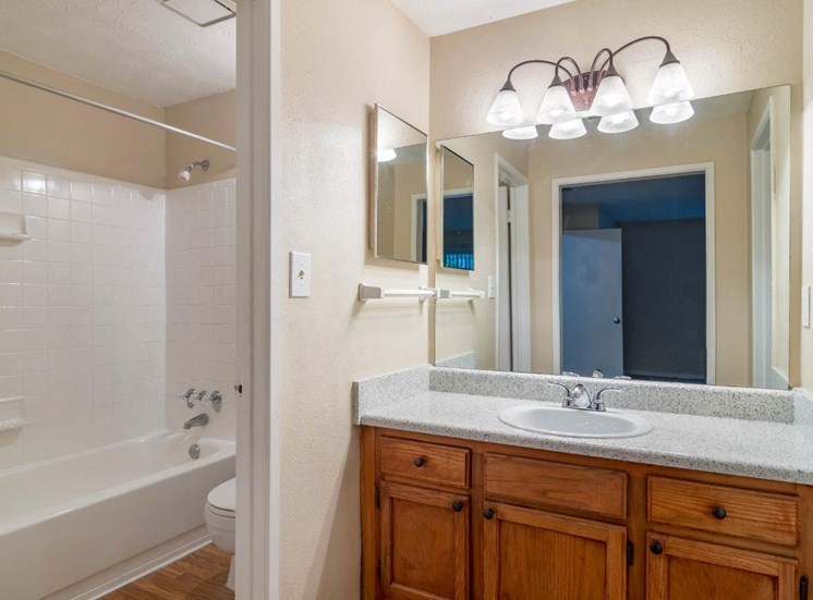 Bathroom with Vanity Lights and Garden Style Tub