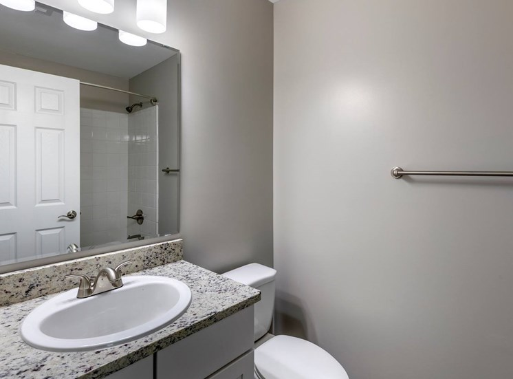 Bathroom with cray counter tops and sink , mirror and commode