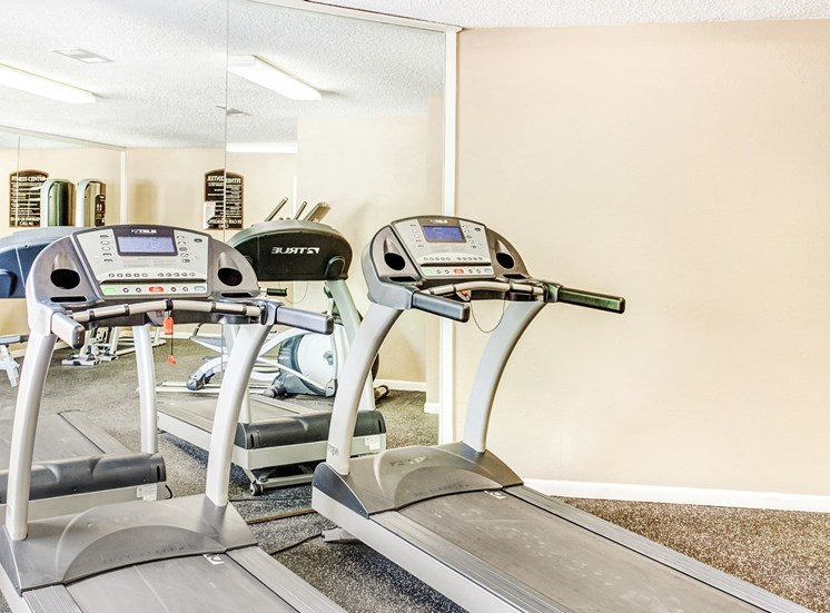 Fitness center with treadmills and mirror