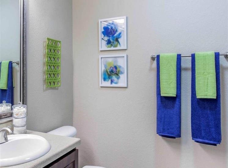 Model Bathroom with Grey Counters and Blue and Green Decorations