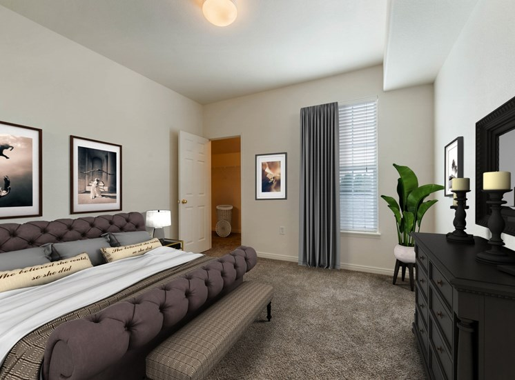 Carpeted Bedroom with Virtually Placed Bed and Decorations