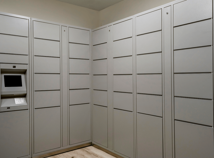 Grey Electronic Package Lockers