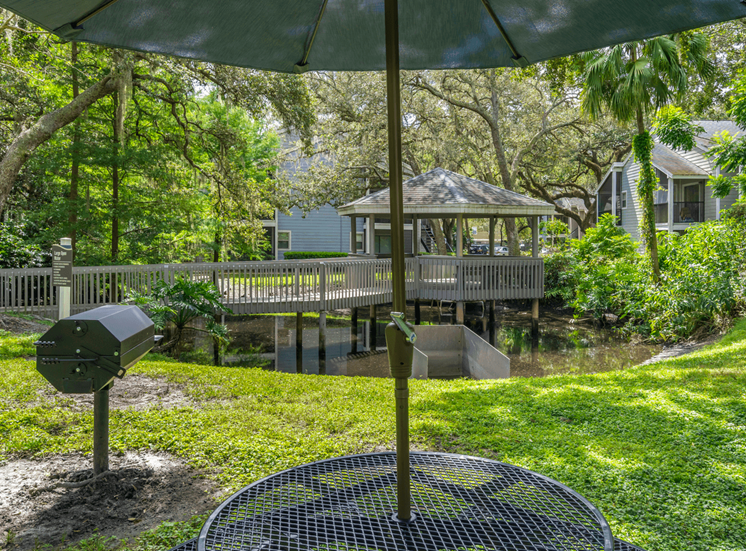 Picnic Table with Umbrella,  Next to Grill, with Gazebo Dock in the Background