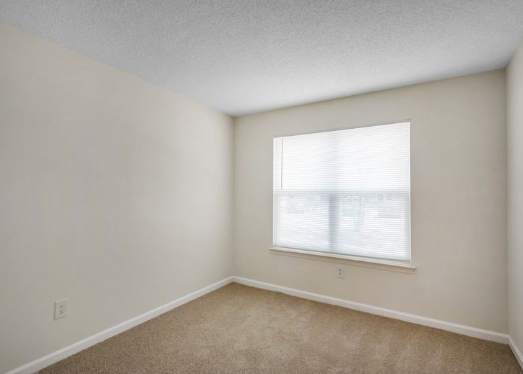 The vacant bedroom features tan carpet throughout with beige walls and a white textured ceiling. A large window at the center of the room overlooks exterior trees. The white closet door can be seen on the left side of the room.