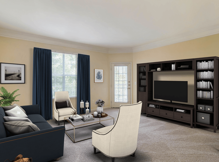 Carpeted Living Room Virtually Placed Couch, Coffee Table on Area Rug, and Entertainment Center