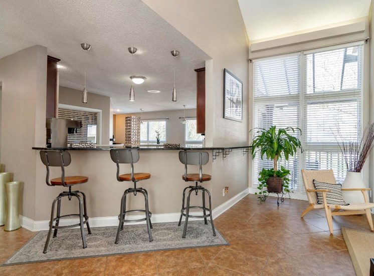 Clubhouse Kitchen Breakfast Bar with Stools