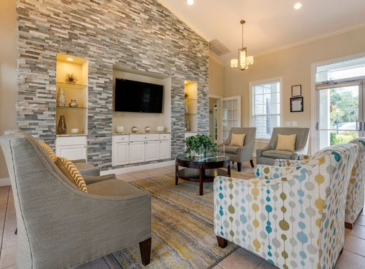 Clubhouse lounge with chairs, coffee table, rug, television, and built-in book shelves