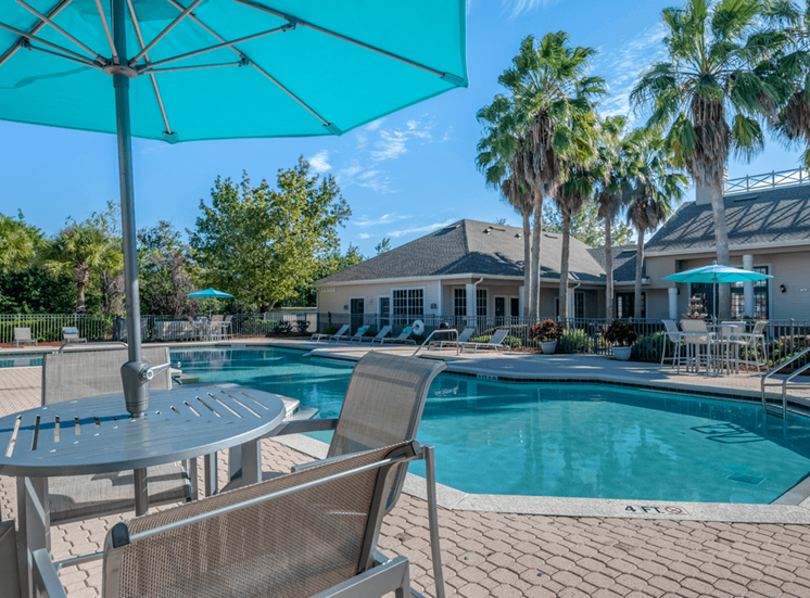 Swimming pool with lounge seating, shaded picnic seating, palm trees, and clubhouse exterior in the background