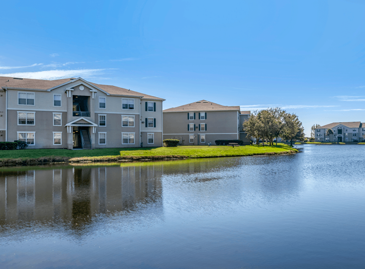 Apartment building exterior overlooking lake