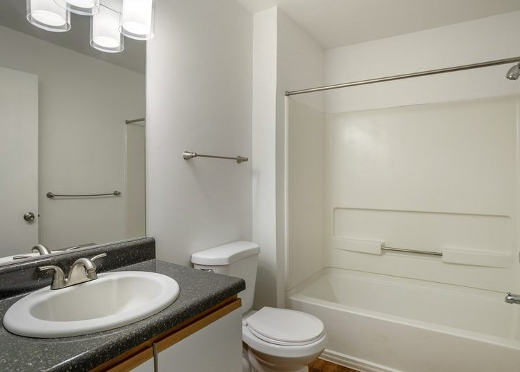 A vacant bathroom featuring white walls and a white ceiling. Brown wood-style flooring throughout. The bathroom also features a white shower/tub combo along with a black granite style bathroom vanity, white sink, and wood-colored trim surrounding the white cabinets