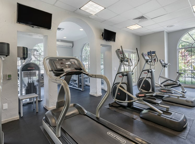 Fitness Center stationary bikes, treadmills, and mounted wall tv