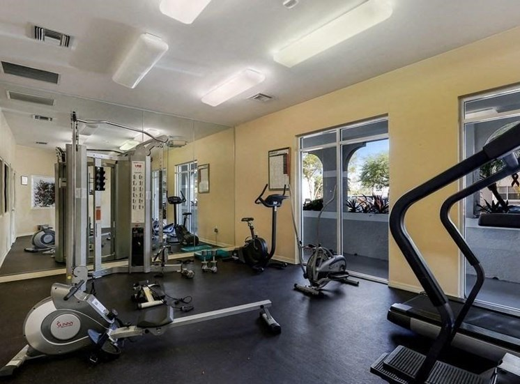 Fitness center with mirrors and rowing machines