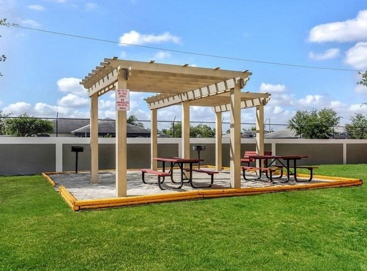BBQ grills with picnic tables under a gazebo