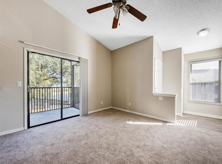 Spacious Living Room with Sliding Glass Patio Door