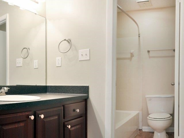 Bathroom with Separate Vanity with Black Counters and Brown Cabinets