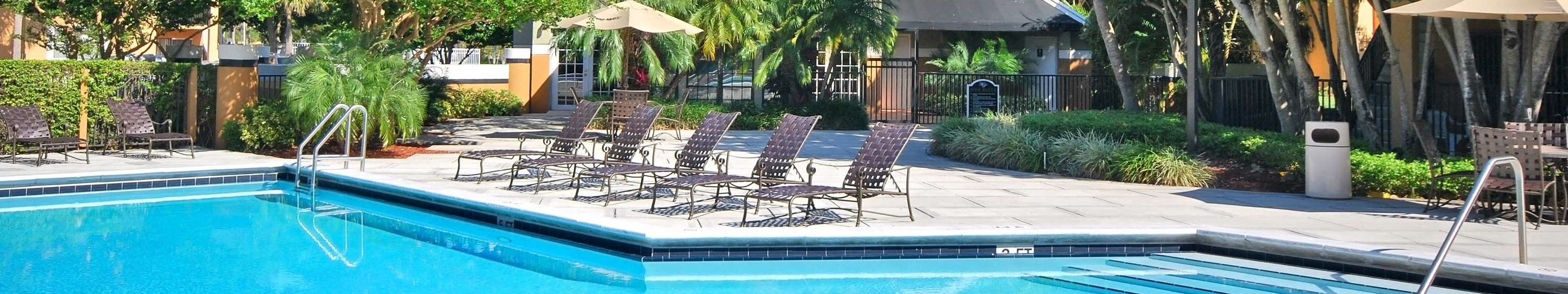 Swimming Pool and Sun Deck with Lounge Chairs with Trees and Building Exteriors in the Background