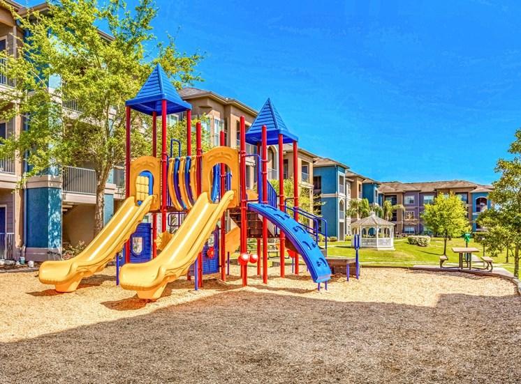 playground area in between buildings.