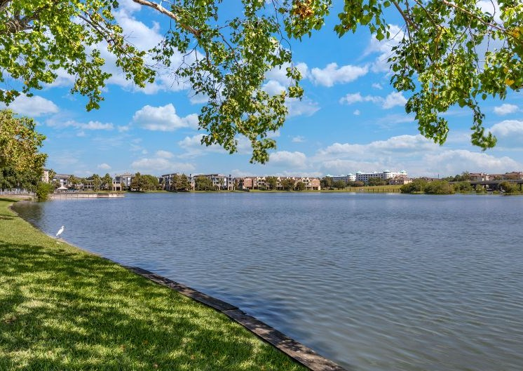 View of lake with blue skies, green trees, and green grass