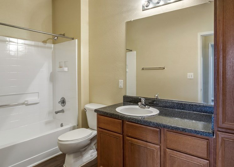 Bathroom with vanity light bulbs, black countertops, and wooden cabinetry