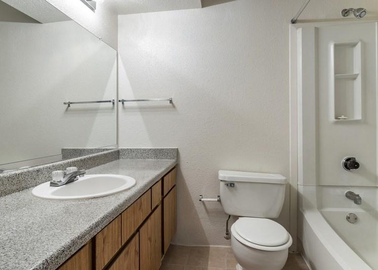 Bathroom with oversized mirror, vanity lights, and garden style bathtub