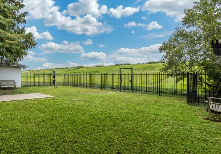 Dog park with surrounding landscaping