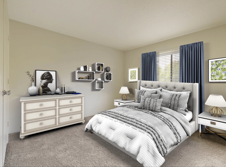 Carpeted Bedroom with Virtually Placed Bed, NIghtstand, and Decorations