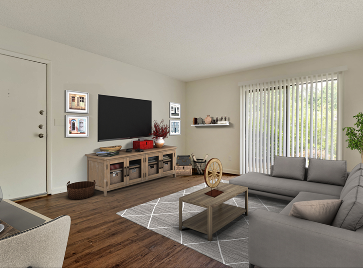Living Room with Sliding Glass Patio Door, Virtually Placed Couch, Coffee Table on Area Rug, and Entertainment Center