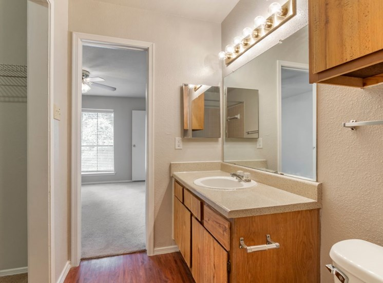 Bathroom with vanity lights and wooden cabinetry