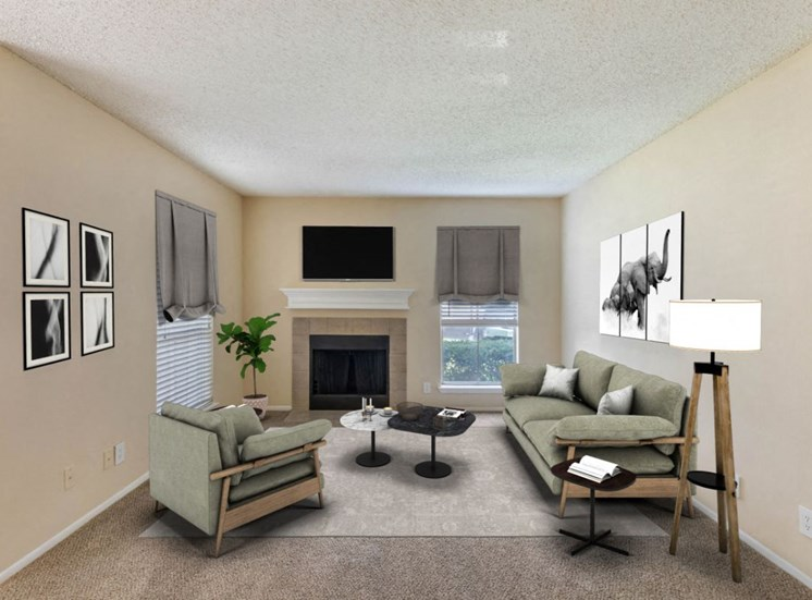 living room with couches, lamps, fireplace, and mounted tv