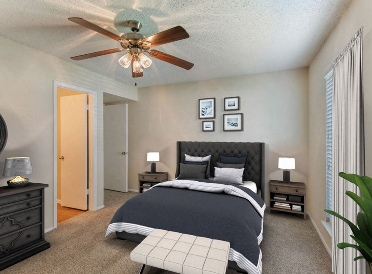 bedroom with bed, ceiling fan, frame photos, and dresser