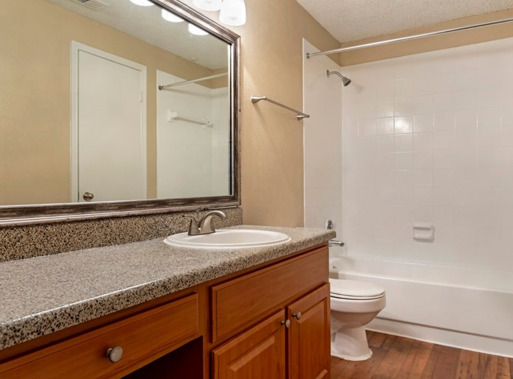 Bathroom with garden style tub vanity lights oversized counterspace