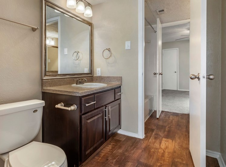 Bathroom with hardwood style floor vanity lights and mirror and espresso cabinetry