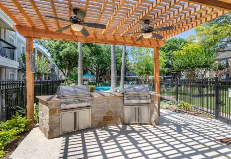 Outdoor Grilling Station Under Pergola  with Ceiling Fans