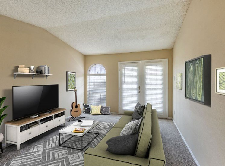 Virtual rendering of living room with light green sofa, gray and white rug, plant, and a television on a tan and white stand