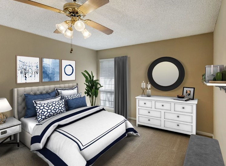 Virtual rending of bedroom with white and black bedding, a circular mirror hanging on the wall, a white dresser, tan walls, and artwork hanging above the bed.