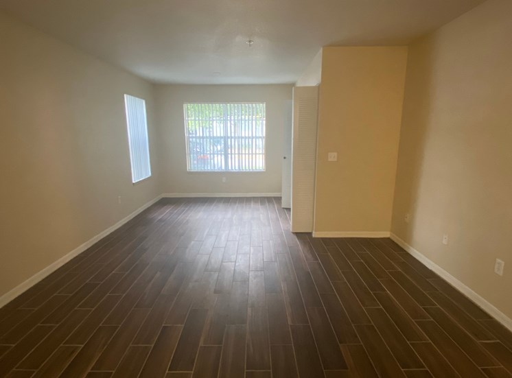 Living Room with Wood Floors, and two tone paint