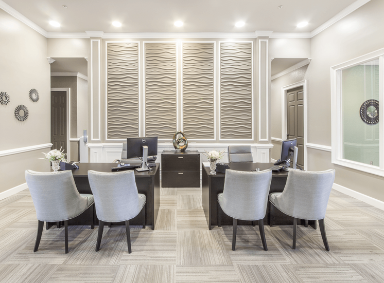 Leasing office interior with tiled flooring