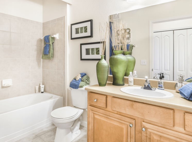 Bathroom with tiled shower, large mirror, and vanity lighting