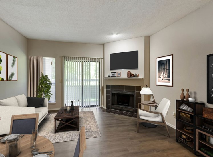 Living Room with Virtually Placed Couch, Dining Table, Charis, Coffee Table and Decorations