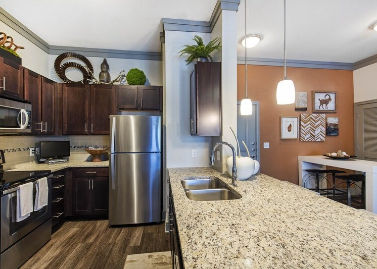 Granite countertops with brushed nickel appliances
