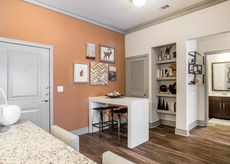 Dining room with built in shelves